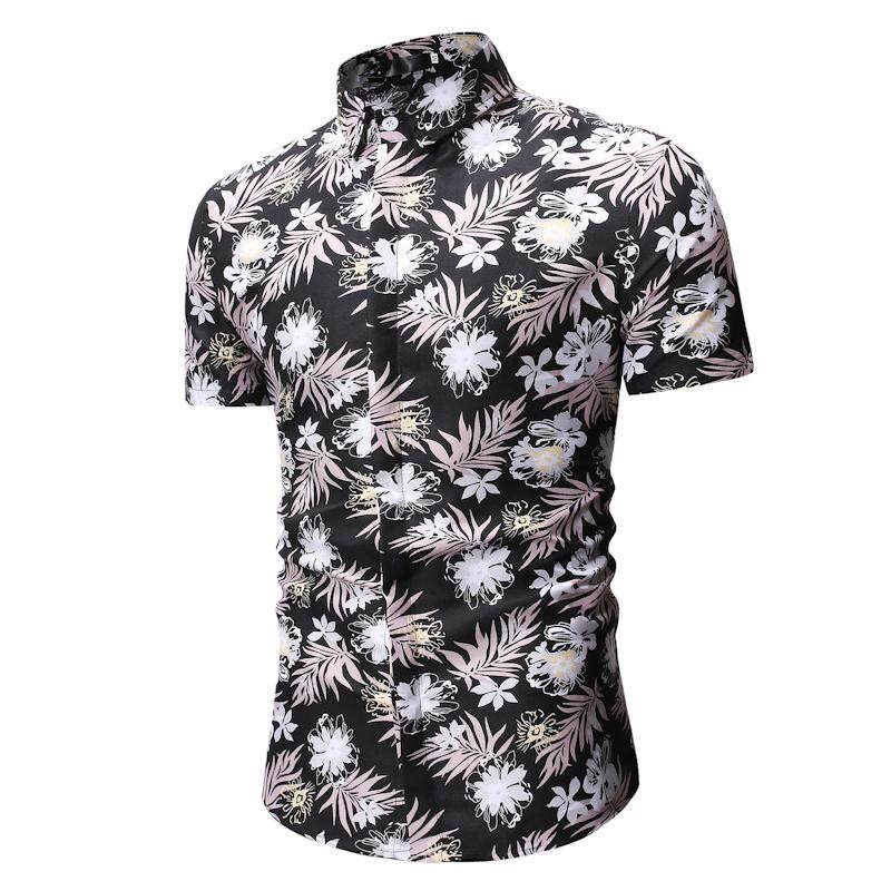 34611062602 Short Sleeve Flower Men Shirt Men s Clothing Casual Hawaiian Shirts Mens  Blouse Man Beach style New
