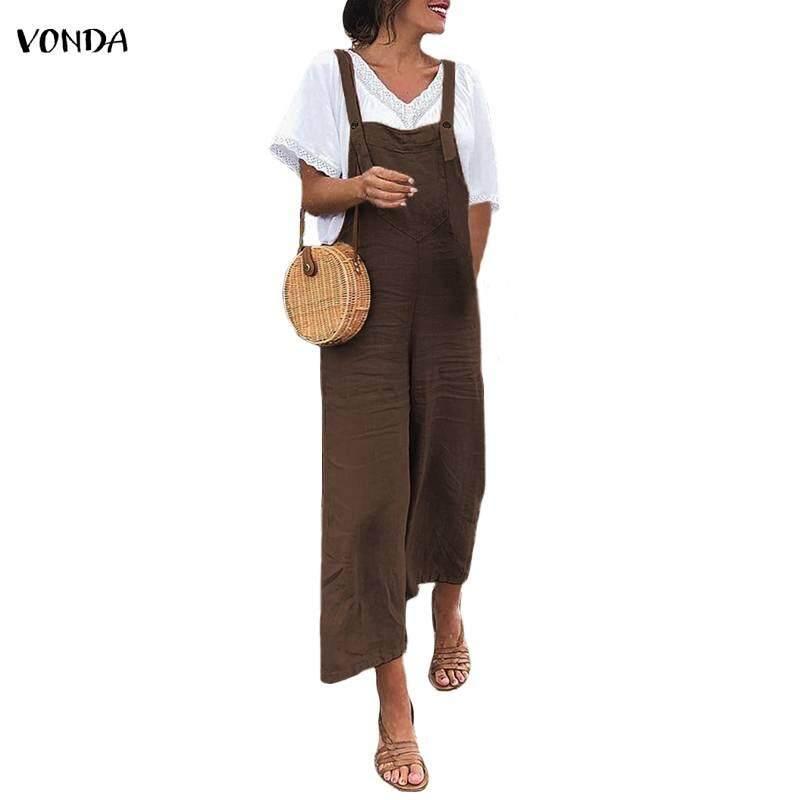 8aa50f4a923 VONDA Women Strap Casual Loose Solid Overalls Playsuit Wide Leg Jumpsuit  Romper Pants