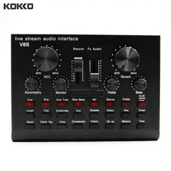 KOKKO V8S Sound Card Live Drive Miễn phí Thẻ âm thanh có thể sạc lại BT Phiên bản tiếng Anh