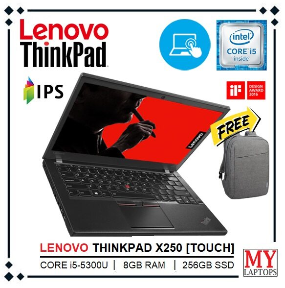 LENOVO THINKPAD X250 TOUCHSCREEN [CORE i5-5TH GEN / 8GB RAM / 256GB SSD / 12.5 IPS HD DISPLAY] ULTRABOOK / WINDOWS 10 PRO / 1 YEAR WARRANTY / FREE BAGPACK Malaysia