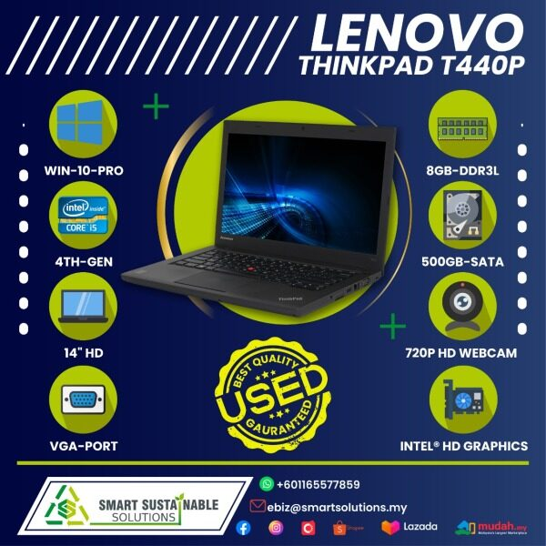 Laptop Lenovo Thinkpad T440p [i5-4th gen] [8GB RAM] [500 HDD] - used laptop / secondhand laptop Malaysia