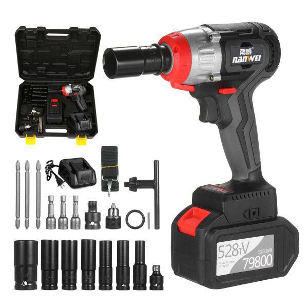 【Ready Stock】NANWEI Cordless Impact Wrench 980Nm Torque Brushless Motor 1/2 and 1/4 Inch Quick Chuck 2x6.0A with Fast Charger Variable Speed Multifunction Impact Kit with Key Type Drill Chuck and 17 Accessories