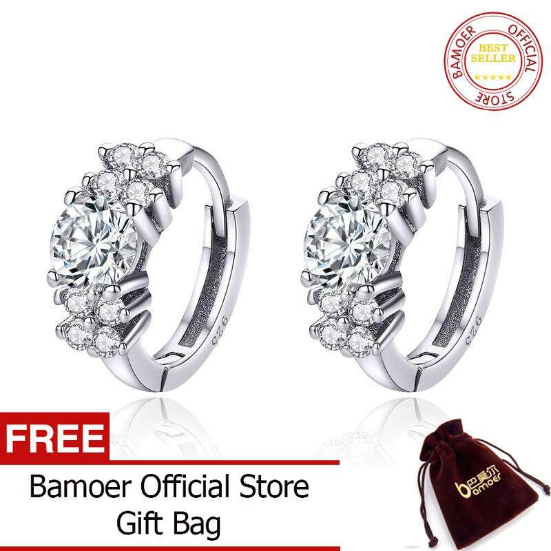 092d1b477 BAMOER 925 Sterling Silver Crystal Round Circle Clear Cubic Zircon Hoop  Earrings for Women Sterling Silver