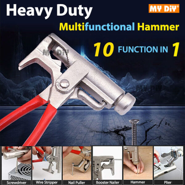 MYDIY Online2u - Heavy Duty Prime Hammer Plier Hammer Multifunctional Universal Hammer Screwdriver Pipe Wrench Clamp Pincer Nail Puller Hammer