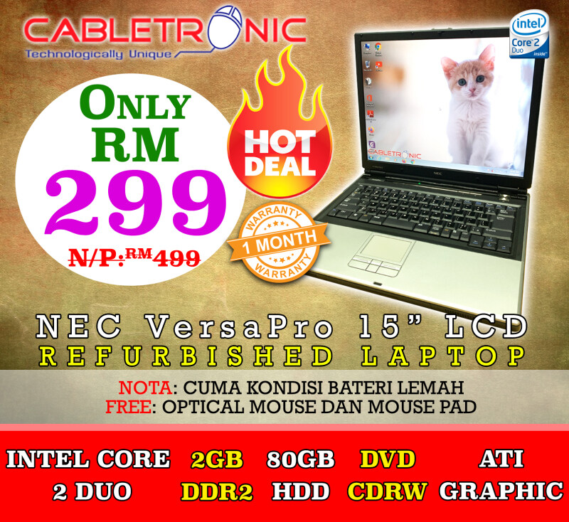 (Refurbished) NEC VersaPro Series Laptop / Core 2 Duo / 2GB / 80GB OR MORE / 15  LCD Malaysia