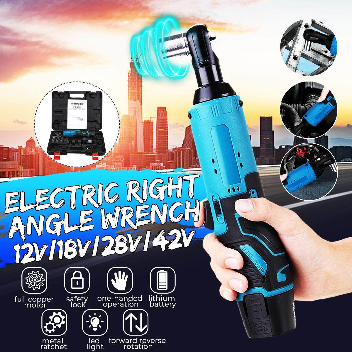 12V 60NM Electric Ratchet Wrench Large Torque 90 Degree Right Angle 3/8 2000RPM 1500mAh Electric Impact Wrench with 11-16mm Sleeve