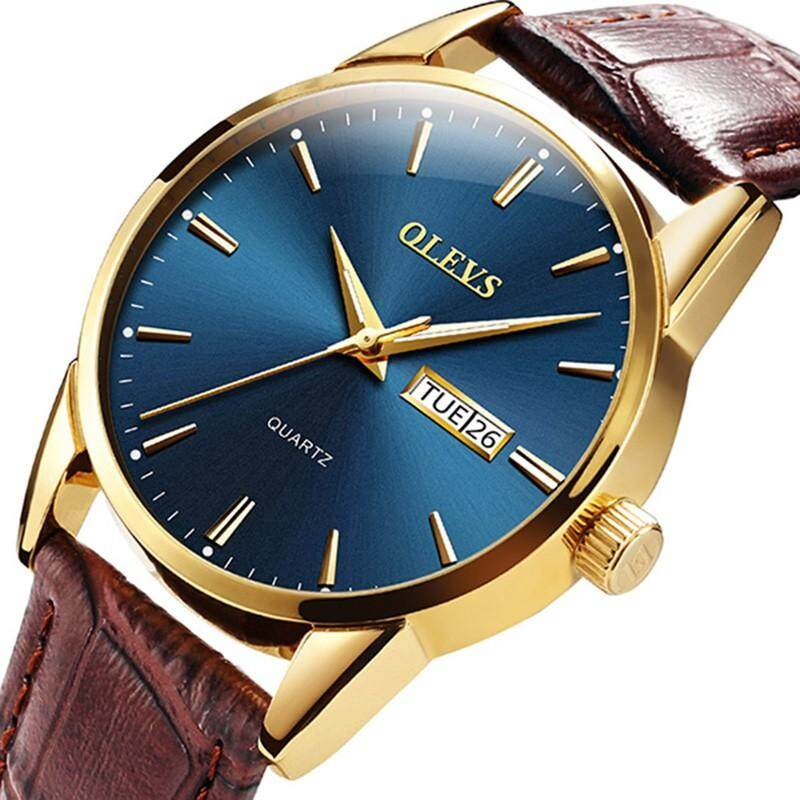 DOTEC Mens Waterproof Watches Top Brand Luxury OLEVS Fashion Double Calendar Luminous Watch Men Leather Quartz Auto Date Wristwatch for Male Malaysia