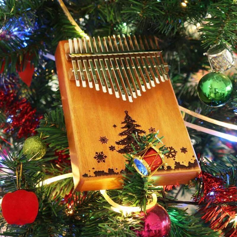17 Phím Kalimba Cây Giáng Sinh Lỗ Âm Thanh Đơn Ban Gỗ Gụ Ngón Tay Cái Đàn Piano Quà Tặng Giáng Sinh