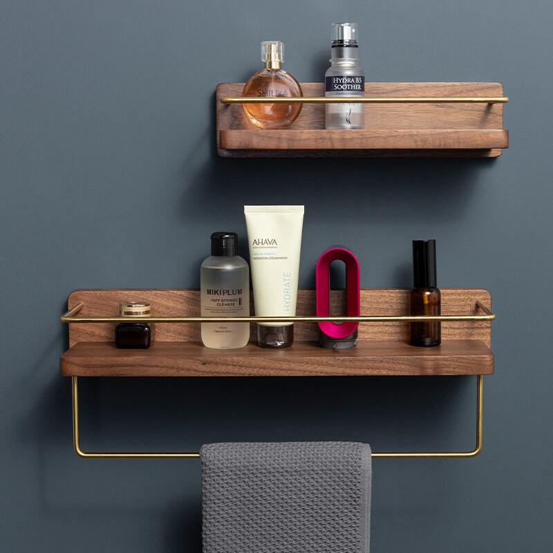 Solid Wood Punch Free Bathroom Shelf, Bathroom Wall Rack