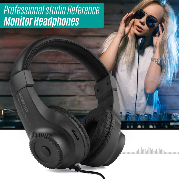 Wired Stereo Monitor Headphones Over-ear Headset with 50mm Driver 6.5mm Plug for Recording Monitoring Music Appreciation Game Playing DJ Black Malaysia