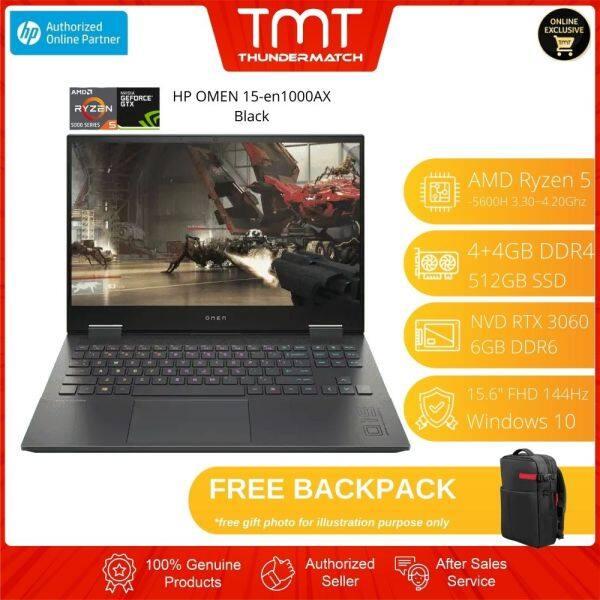 HP OMEN 15-en1000AX Black Laptop   Ryzen 5-5600H   8GB RAM 512GB SSD   15.6 FHD 144Hz   RTX 3060   W10   BAG  2YrsWrnty Malaysia