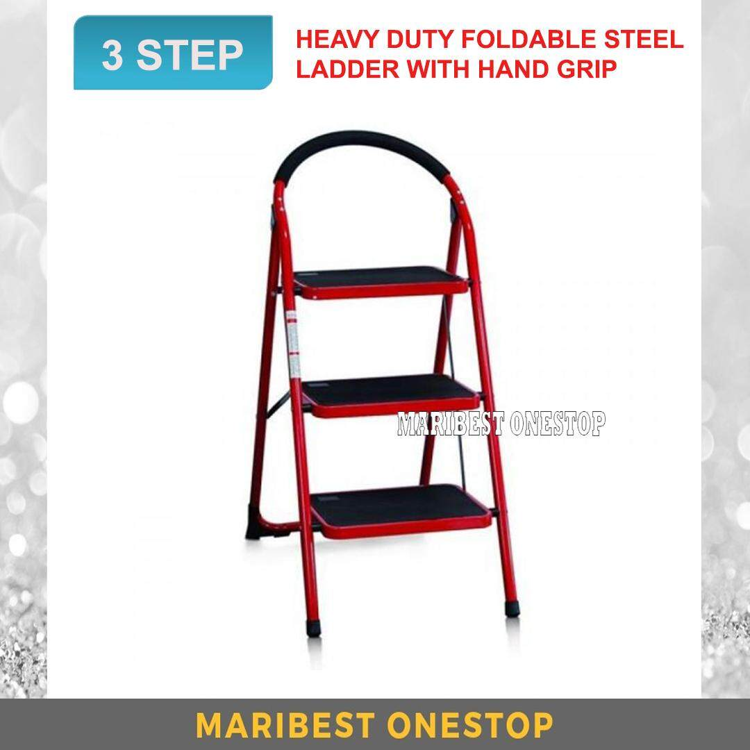 Heavy Duty Foldable 3 Step Stool Ladder with Hand Grip