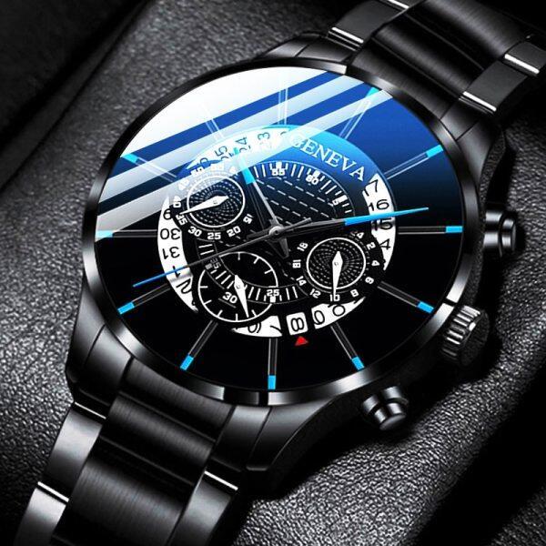 Original GENEVA Fashion Mens Stainless Steel Watches Luxury Men Business Calendar Quartz Wrist Watch For Men Casual Sport Waterproof Man Clock Malaysia