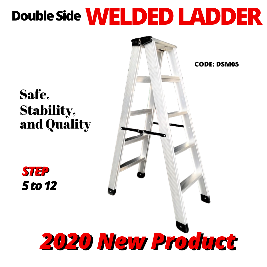 5 Steps Aluminium Heavy Duty Double Sided Welded Ladder 铝制焊接楼梯 Tangga Lipat