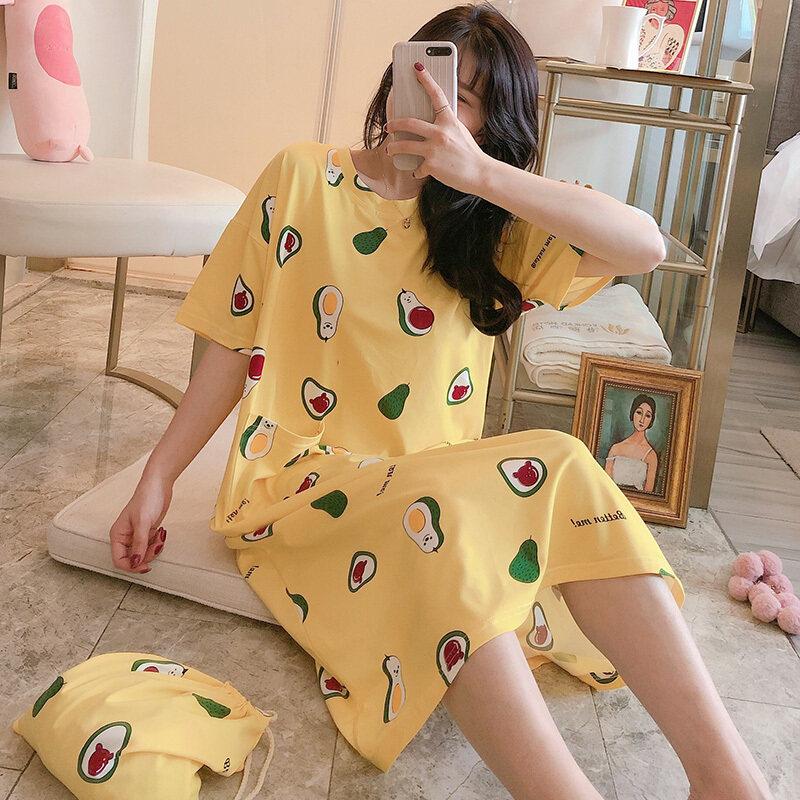 Nơi bán 2020 Phụ Nữ Đồ Ngủ Mùa Hè Ăn Mặc Áo Ngủ Lụa Badydoll Nữ Lụa Phim Hoạt Hình O Cổ Cỡ Lỡn Femme Ngủ