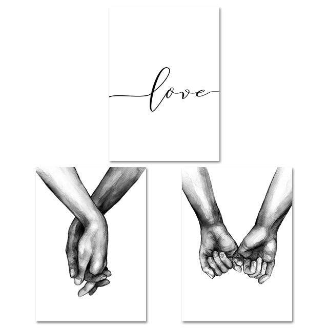 Nordic Poster Black And White Holding Hands Canvas Prints Lover Quote Wall