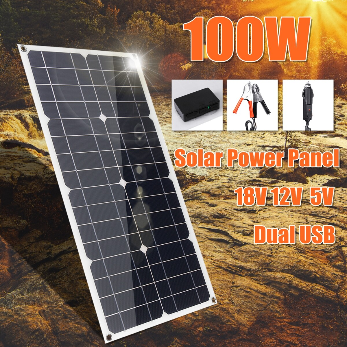 100W 18V Solar Panel Waterproof Solar Cell Module Kit DC+USB Port for 12V Car Battery Charger Monocrystalline Cells Hause, RV, Boat, Roof,+ 10A Solar Controller (Optional)