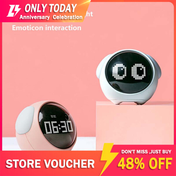 SOHOYA Cute Expression Pixel Kids Multi Function Electronic Digital  Alarm Clock Led Night Wake Up Light Table Clock bán chạy