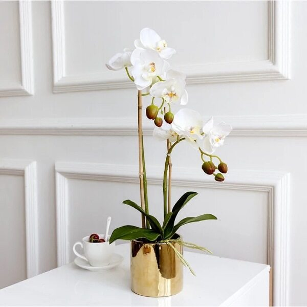 Handfeel Moisturizing Butterfly Orchid Imitation Flowers Set Vase Potted Plant Artificial Flower Decorative Flower Living Room Furnishings Floral 3-Branched Flower
