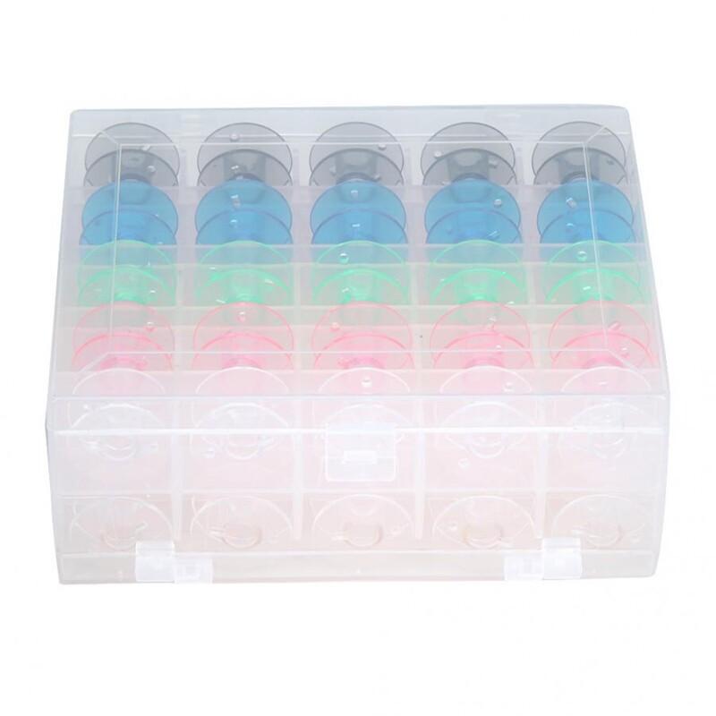 Giá 50Pcs Bobbin Hardcover Plastic Box Double Bobbin Case Bottom Bobbin Thread Reel Bobbin Storage Box