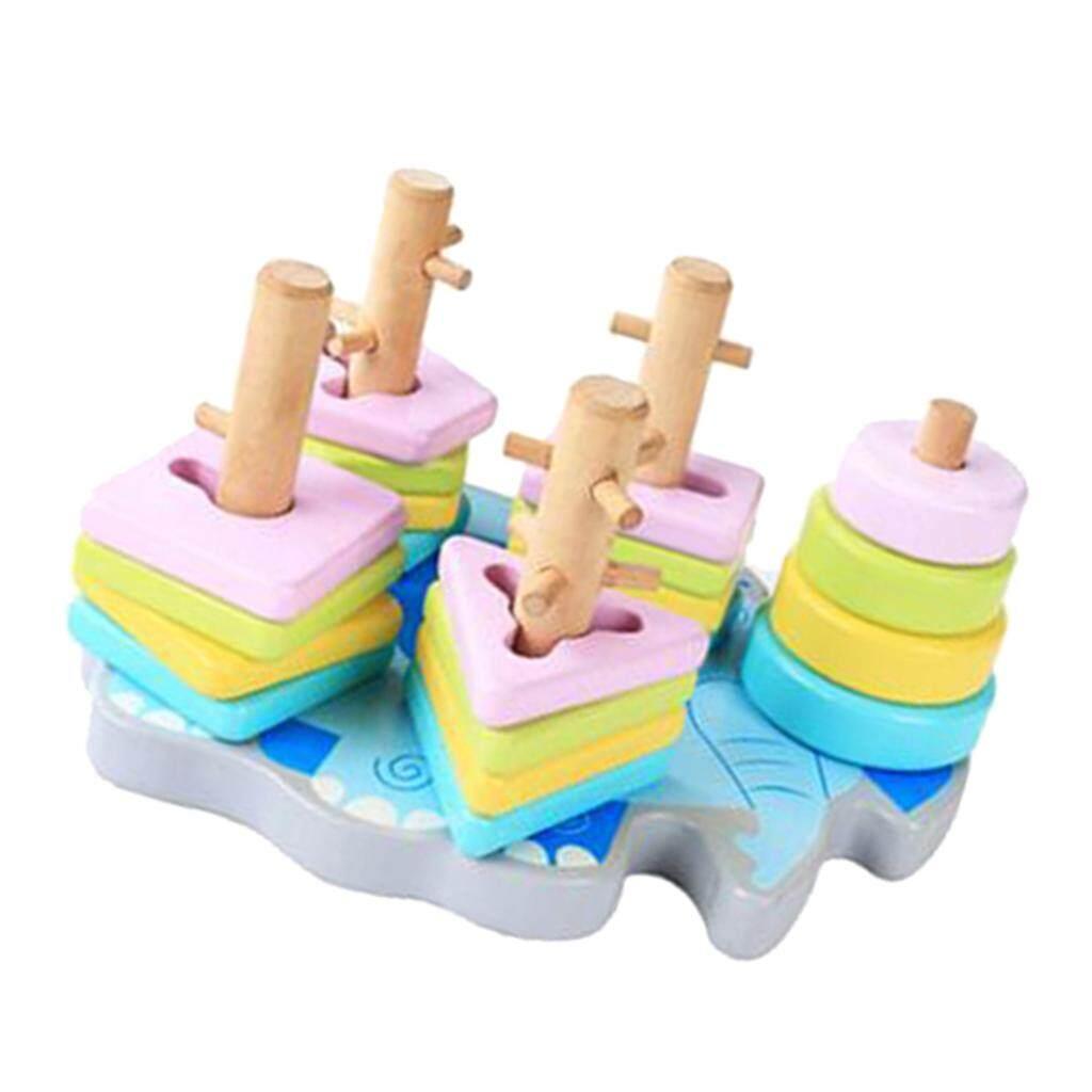 Perfk Cute Preschool Kids Wooden Geometric Sorting Board Building Blocks