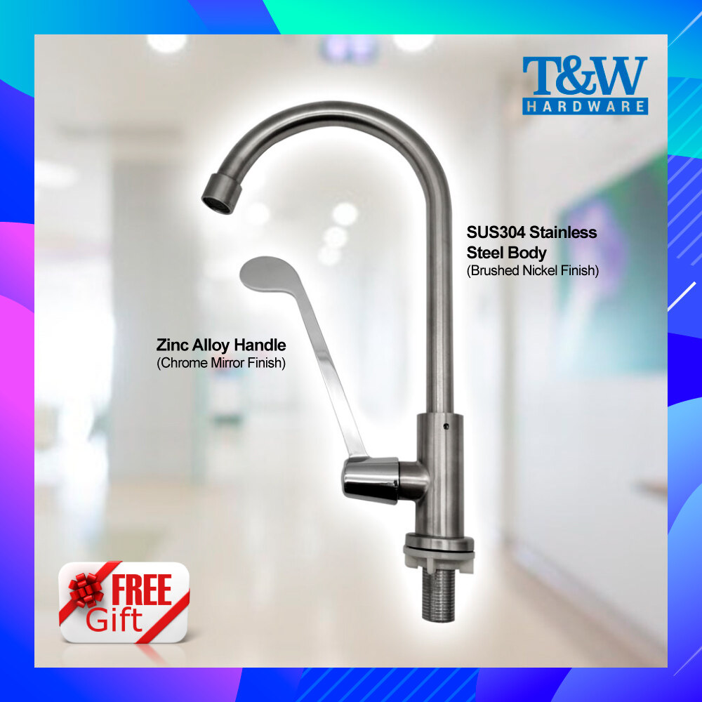 1/2inch 15mm SUS304 Stainless Steel Medical Pillar Mounted Extended Single Lever Basin Tap [T&W Hardware]