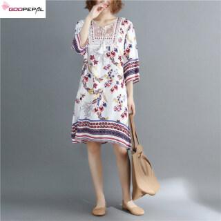 Goopepal Đầm Nữ Ngoại Cỡ Đầm In Thời Trang Thường Ngày Đầm Cotton Dáng Rộng Ngoại Cỡ Phong Cách Hàn Quốc Đầm Mỏng Đi Biển Ngày Lễ thumbnail