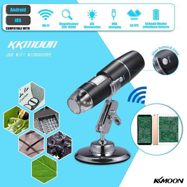 KKmoon Electron Digital Microscope Portable WiFi Wirelessly 1000x High Definition Magnifying Glass Christmas Halloween Educational Gift for Children