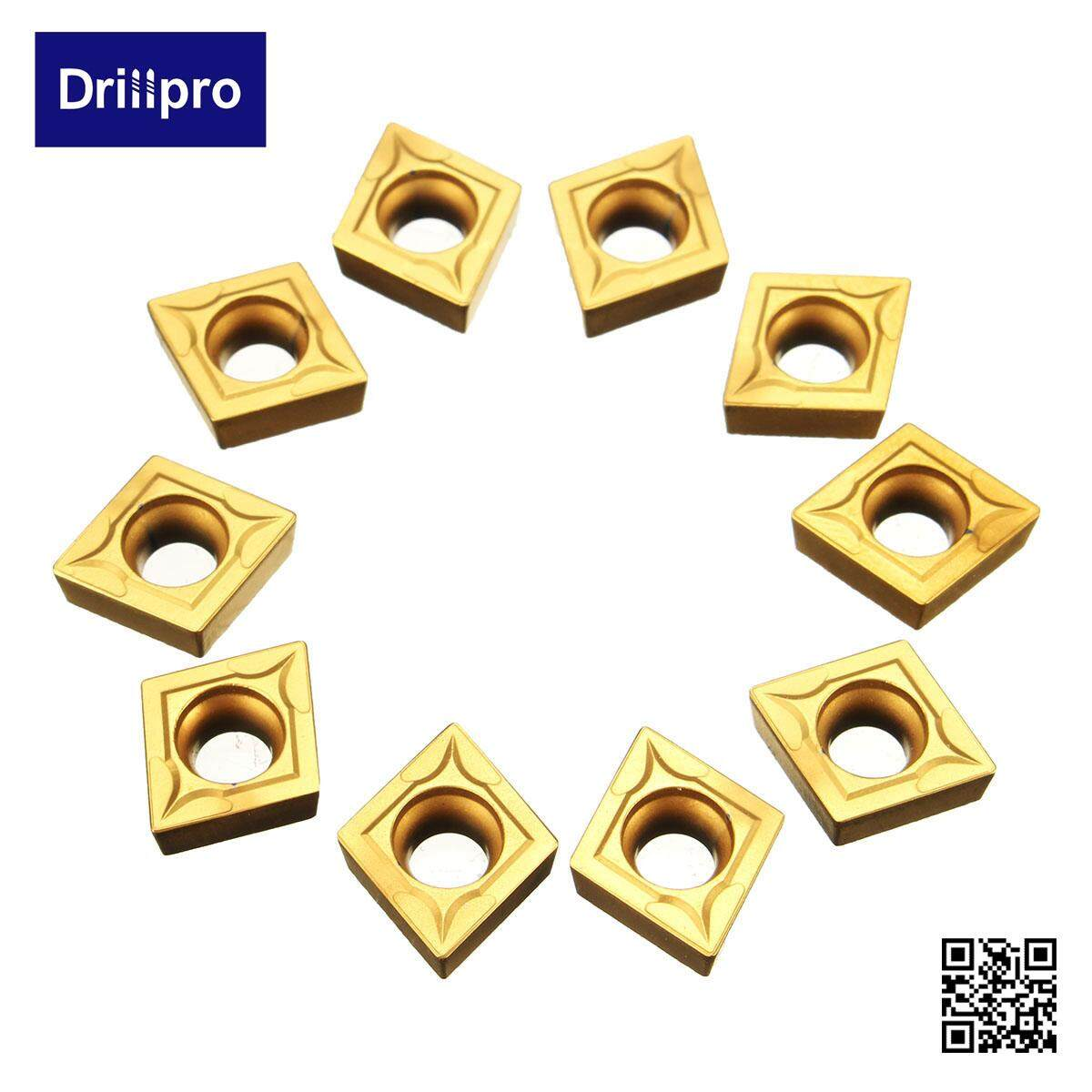 Drillpro 10PCS CCMT09T304 CCMT32.5 Carbide Insert Tip For SCLCR Lathe Turning Boring Tool