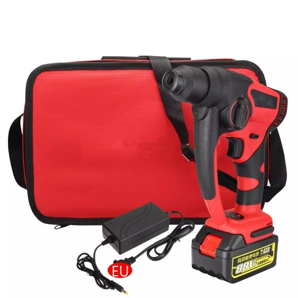 88V Brushless Rechargeable Electric Hammer Lightweight Multifunctional Lithium Electric Hammer High Power Electric Drill 1 * Ba  tte ry + 1 * Power Adapter + 1 * Storage Bag EU