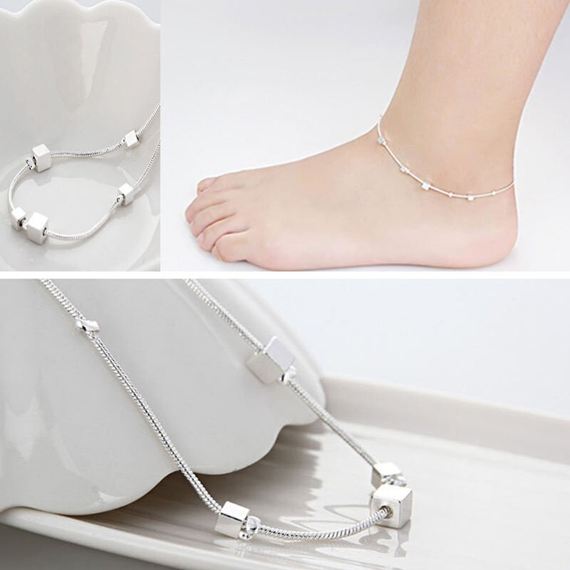 Lắc chân mạ bạc 925 chất lượng cao thiết kế đơn giản sang trọng cho nữ - INTL