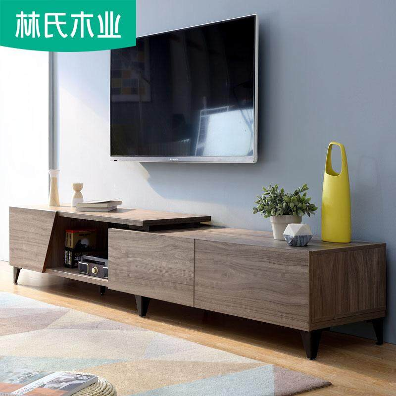 LINSY Nordic Simple Modern  Wood TV Cabinet Tea Table Combined Small House Type Living Room Furniture Set modern zen kitchen living room office furniture eurostyle durable brown walnut cabinet television storage drawer