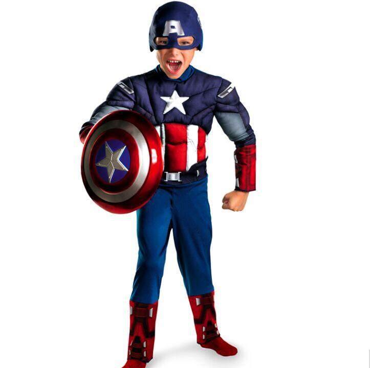69cefdaba Children Avengers Captain America Muscle Cosplay Costume Kids Party  Disfraces Halloween Superhero Boys Birthday Gift Fancy