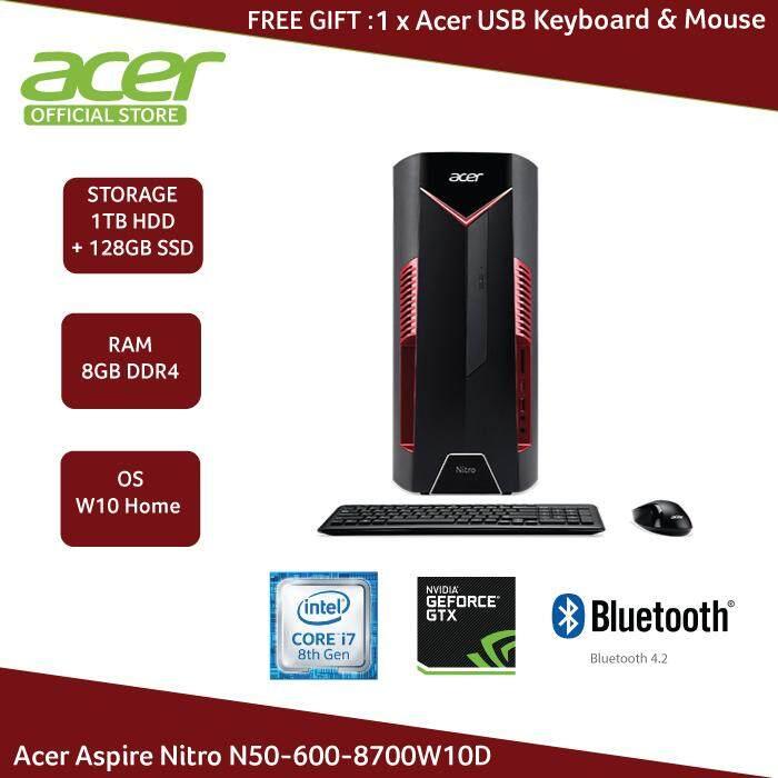 Acer Aspire Nitro N50-600-8700W10D Gaming Desktop i7  8700/8GB/1TB+128GB/GTX1050 2GB/W10H (DG E0HSM 003)
