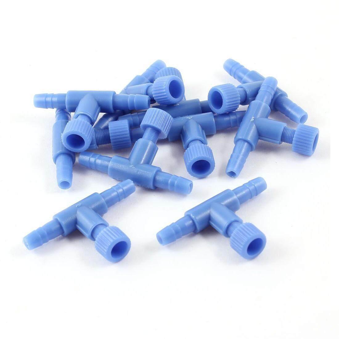 10 Pieces Plastic Aquarium Fish Tank 2 Way Air Pump Control Valves, Blue