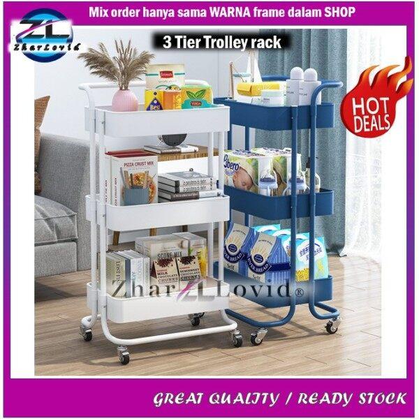✉❁  Rak Trolley 3 Tingkat Storage Rack Besi Bekas Barang Serbaguna Bertingkat Beroda Bergerak Bilik Dapur Tidur Ala Ikea Set