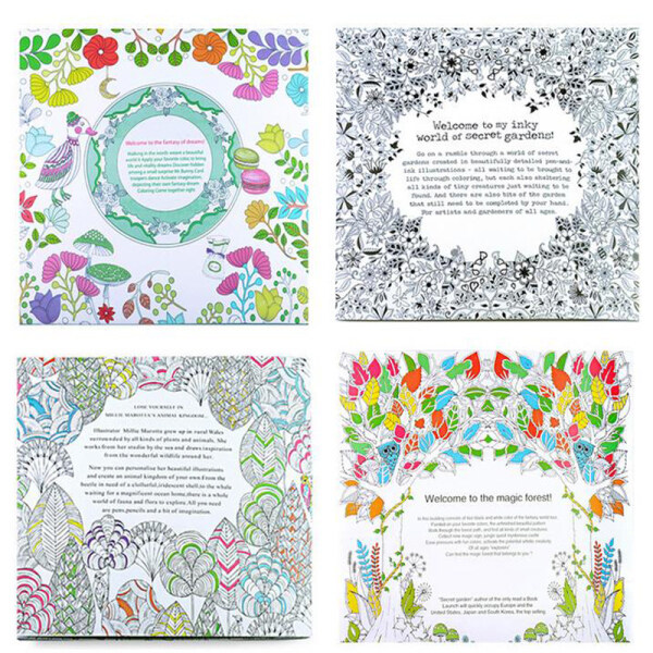 4 Pcs/Lot Fantasy Dream Free Coloring Book For Adults Children Drawing Kill Time Graffiti Anti-Stress Painting Art Books Libro