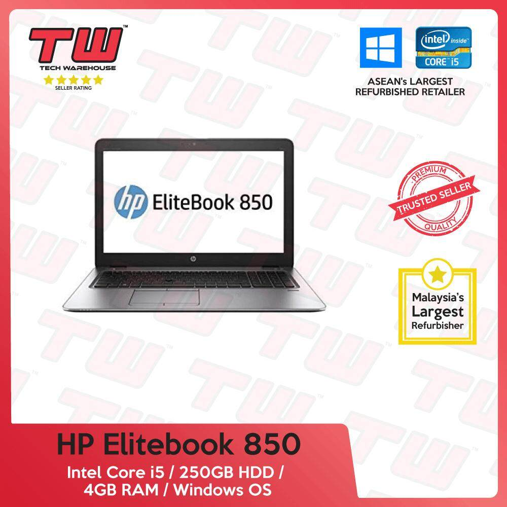 HP Elitebook 850 Core i5 Gen 5 / 4GB RAM / 250GB HDD / Windows OS Laptop / 3 Months Warranty (Factory Refurbished) Malaysia