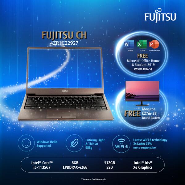 Fujitsu CH 13 4ZR1C22927 Brown Laptop i5-1135G7 8GB-OB 512GB SSD 13.3 FHD W10 + Lenovo L27m-28 Monitor + MS Office Home and Student 2019 Malaysia