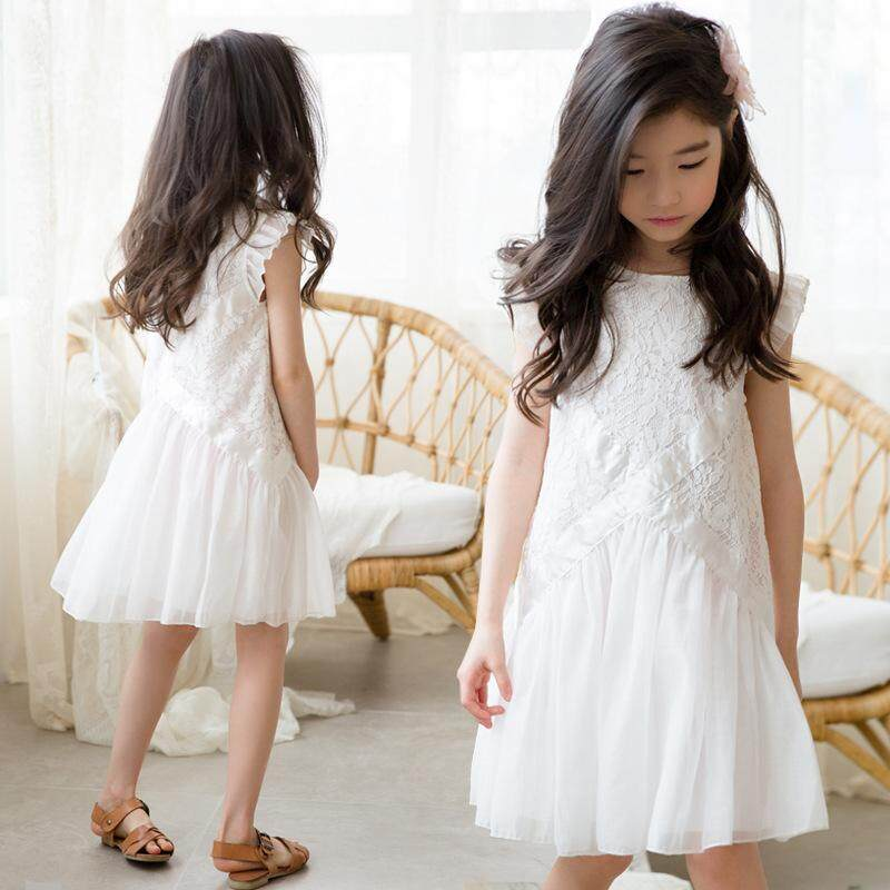 0450b5142 Girls Dress 2019 Summer New Korean Style Princess Dress Flying Sleeves Lace  Ribbon Vest Dress