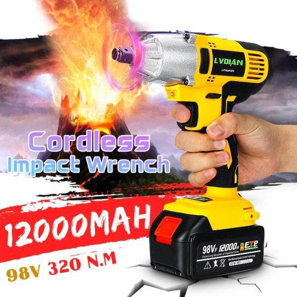98VF 320NM 12000mAh 110-240V Cordless Electric Impact Wrench Drill Screwdriver -