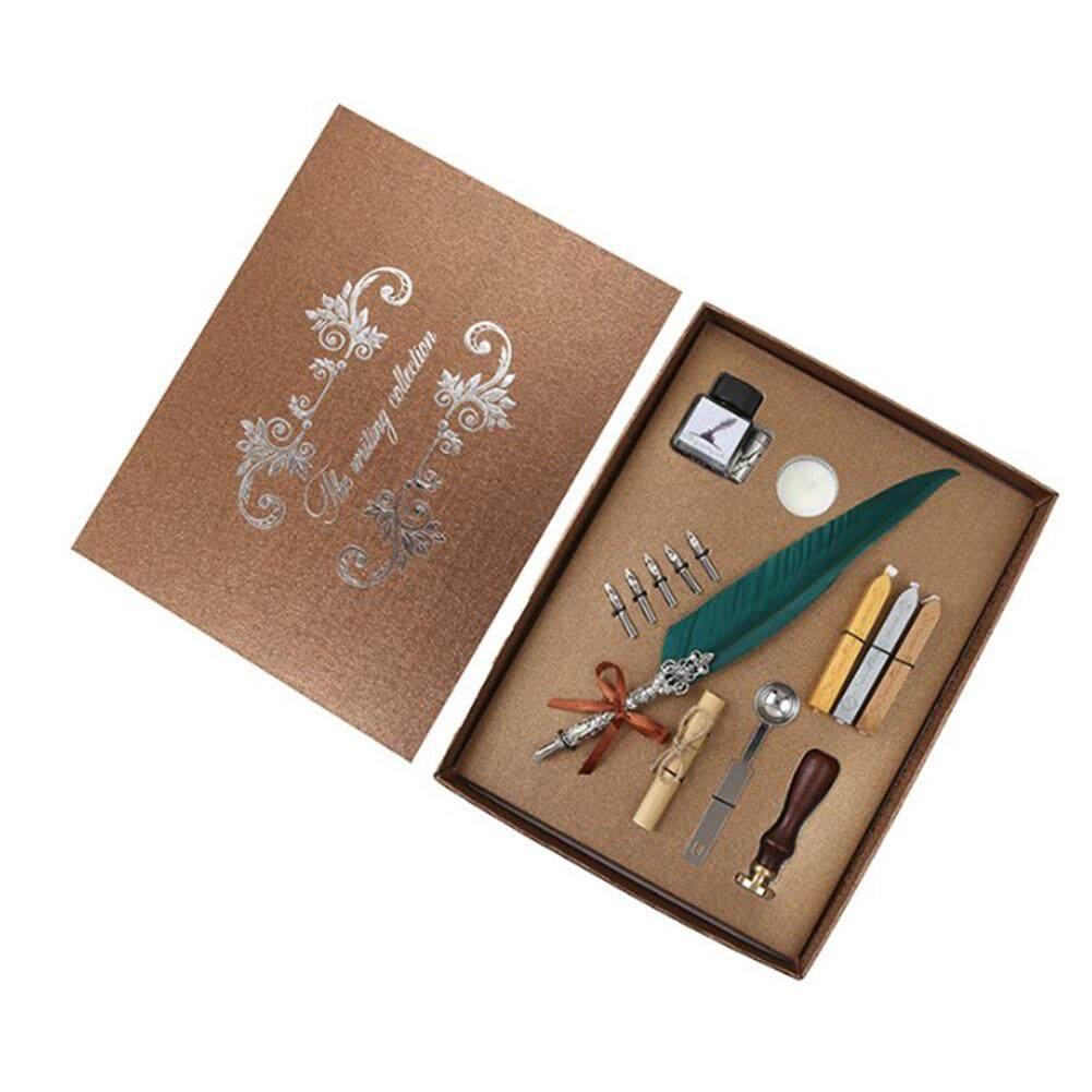 Outop Writing Quill ปากกาเจลก้านโลหะปากกาคอแร้งขนนก Perfect ชุดของขวัญ.