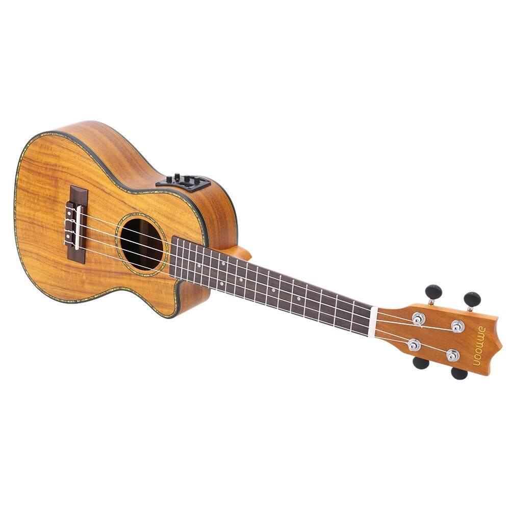 ammoon 24  Cutaway Ukulele Hawaii Guitar with LED EQ Koa Plywood Cowry Shell Brims OX Bone Saddle 4 Strings Instrument Gift Present