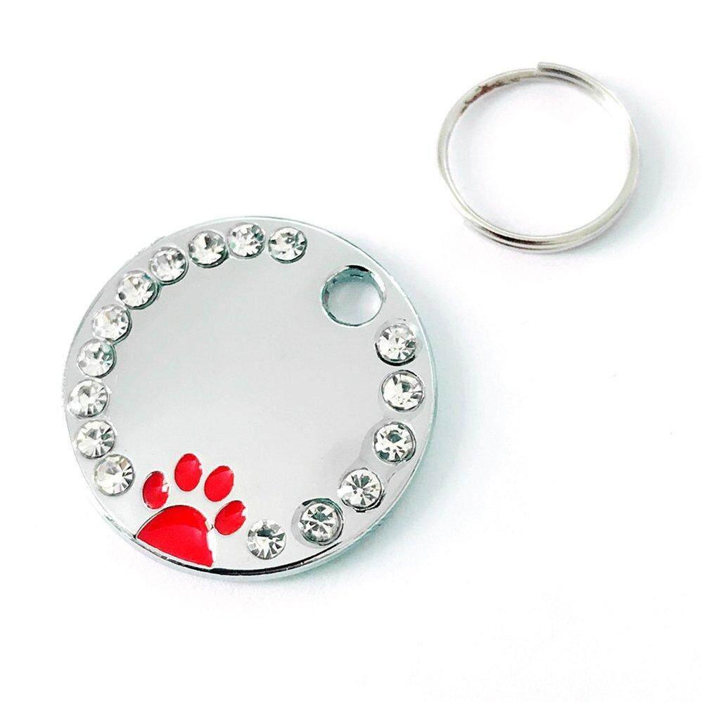 Zinc Alloy Pet ID Tag with Paw Pattern Identify Card Personalized Rhinestone Dog Cat ID Tag