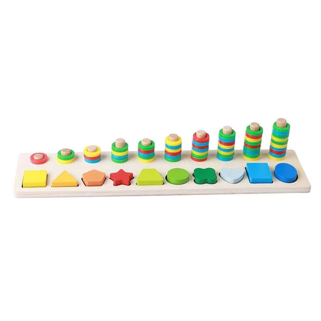 Baoblade Montessori Wood Blocks Sorting Puzzle Sorter Stacker Board for Preschool Kid