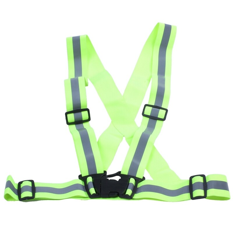 Reflective Safety Vest Reflective Belt Visibility Cross Belt Band Harness Belt Waist Belt, Green