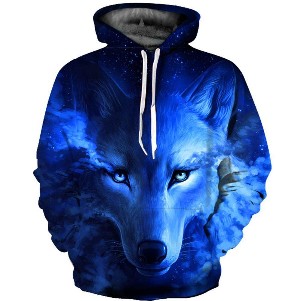 Unisex Blue Wolf Hoodies 3D Printed Blue Wolf Digital Printing Hooded Sweatshirt