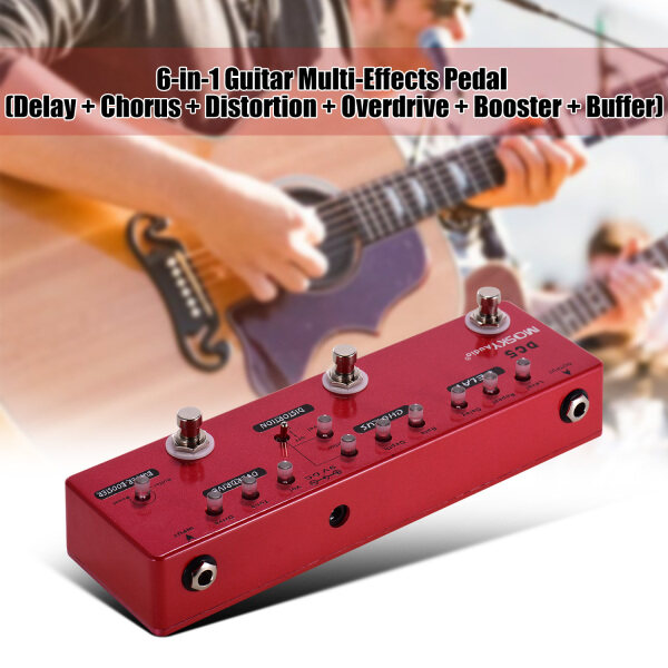 【HOT】MOSKY DC5 6-in-1 Guitar Multi-Effects Pedal Delay + Chorus + Distortion + Overdrive + Booster + Buffer Full Metal Shell with True Bypass Malaysia