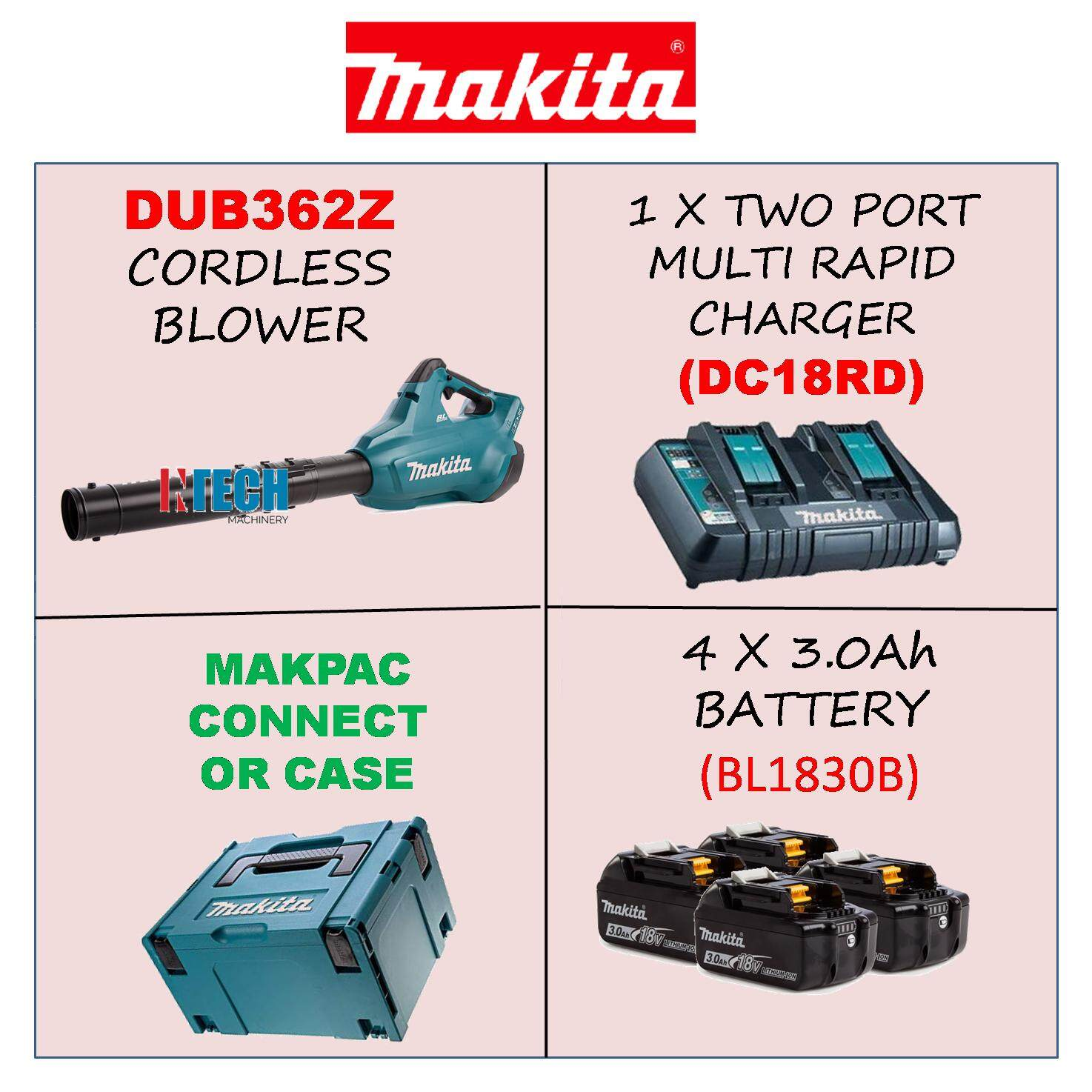 MAKITA DUB362Z CORDLESS BLOWER C/W 4 X 3.0Ah BATTERY, 1 X TWO PORT MULTI RAPID CHARGER, 1 X MAKPAC CONNECTOR CASE