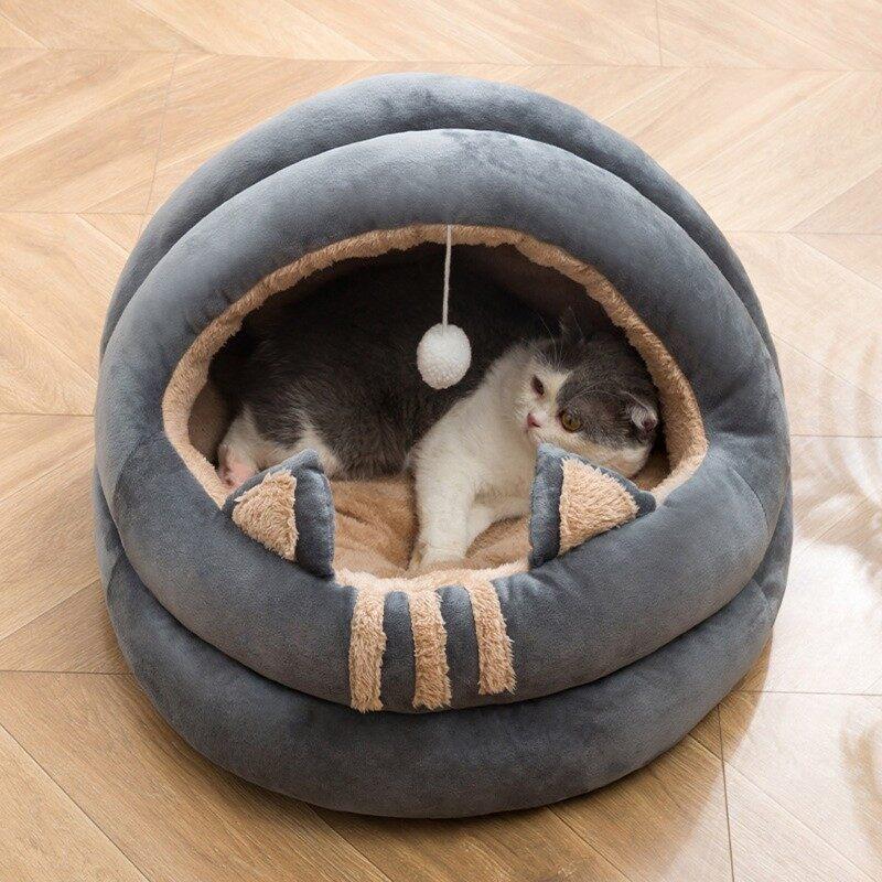Giường Vải Lông Ấm Áp Mùa Đông Mèo Hình Bông Hoa Mềm Dài Giường Thú Cưng Êm Dịu GW